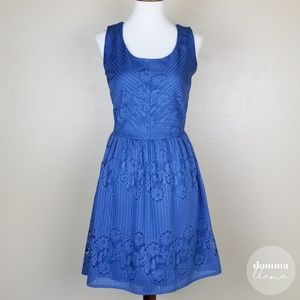 BeBop • Dusky Blue Lace Overlay Dress M